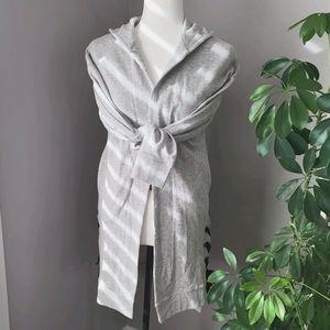 NWT Dex long grey hooded sweater w/side ties sz/S